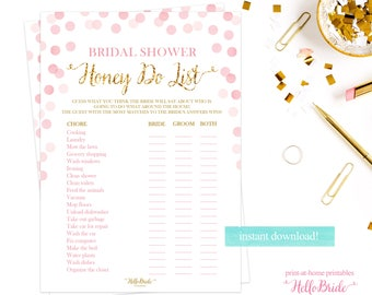 Bridal Shower Game - Wedding Shower Games - Honey Do List Game - Pink and Gold - Bride and Groom Game - RB001