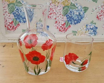 Vintage glass carafe, decanter & glass, with hand painted red poppies.