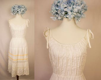 Vintage 70s Georgia Charuhas White Pintuck Embroidered Tie Strap Sundress - Made in Mexico