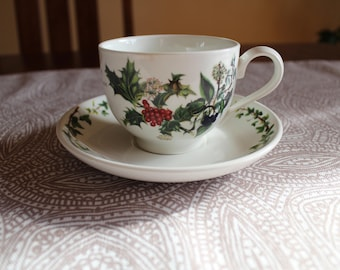 Traditional Footed Cup & Saucer Set in The Holly and The Ivy by Portmeirion