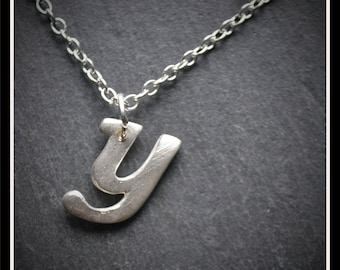 Silver Initial (Lowercase) Pendant or Keyring - Silver Precious Metal Clay (PMC), Handmade, Keyring - (Product Code: ACM054-17)