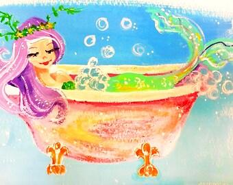 Ilustración de sirena sirena - sirena sirena de impresión del arte - Arte de la pared de sirena - pintura - impresión del arte de la sirena - Decor baño - bañera