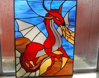 Red Fire Dragon Stained Glass Print/Prints/Fantasy Wall Art/Wall Art