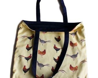 Pheasants and Chickens Print Cotton Shopper Bag