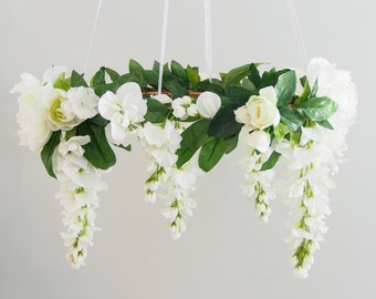 white flower mobile, flower chandelier, floral mobile, nursery decor, wedding decor, greenery , wedding chandelier, wisteria chandelier