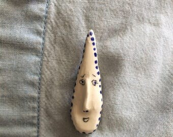 handmade glazed ceramic pin / little teardrop pal
