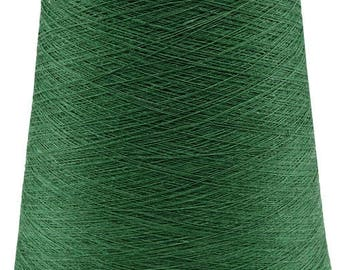 1 lbs (0.5 kg) GREEN LINEN YARN - spun Thread Bobbin - Emerald green color