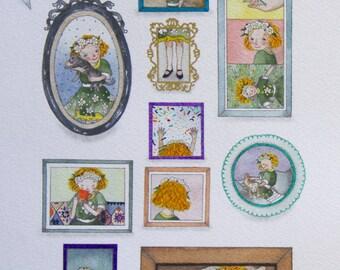 Small framed portraits-custom illustration
