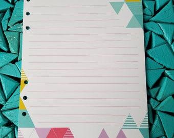 Planner Insert, Agenda Insert, Agenda Paper, Planner Paper, Turquoise,  Geometric, Notepaper, A5