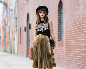 Midi skirt pleated metallic