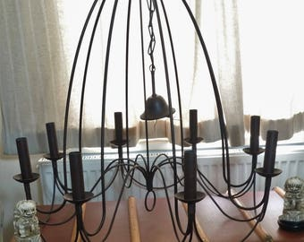 Bronzed heavy metal 8 arm chandelier