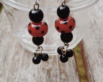 Black and Red Polka Dot Earrings