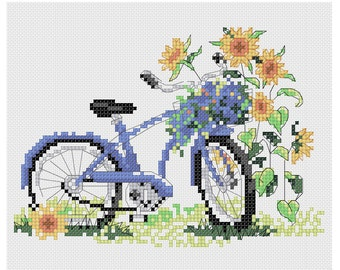 PDF Bike cross stitch Pattern// Bicycle Embroidery pattern