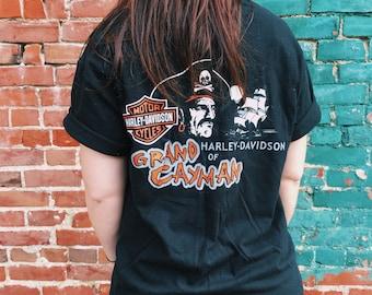 Pirates Life For Me Grand Cayman HARLEY Davidson T-Shirt // Large