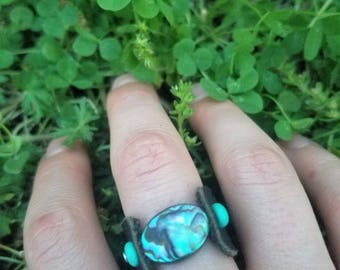 Abalone leather ring