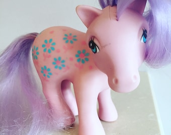 Vintage G1 My Little Pony - Mommy Bright Bouquet - 1980s - Pink and Lavender - Flowers