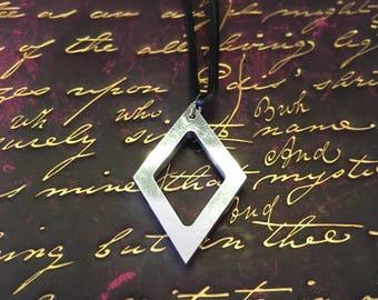 Geometric diamond aluminium pendant