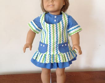 "American Girl ZigZag Dress w/ Blue ""Crocs"""