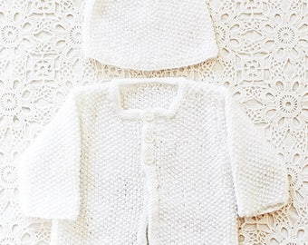 Snow Cloud Knit - hand knitted white baby preemie jacket with matching knit hat and buttons