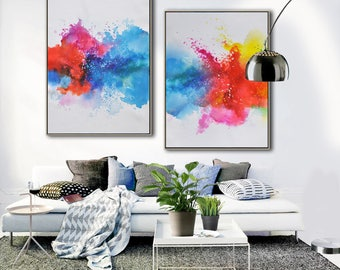 Set of 2 Original abstract painting on canvas, large vertical contemporary art, hand painted. FREE shipping. By Ethan Hill Art No.P3