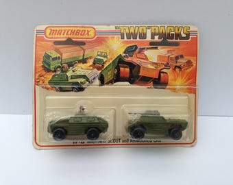 Matchbox Vintage Two Packs TP-13 Military scout and Armoured car  New MOC  Lesney 1973 england