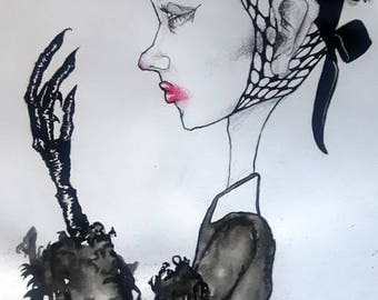 Runway Fashion Illustration - Ink - Gouache - Graphite