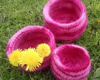 Felted Nesting Bowls, Pink Felted Bowls