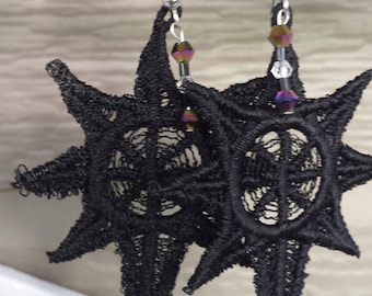 Spider Web/Star Lace Earrings/ Black with beads