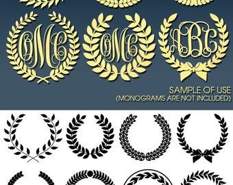 12 Wreath Monogram Frames Vector Digital Cut Files Svg Dfx Eps Png Silhouette SCAL Cricut Printable Download Paper Vinyl Die Cutting JB-097