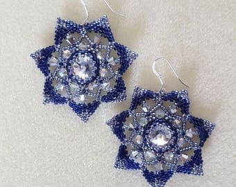 Blue and Silver Star Earrings by silvia heart bijoux