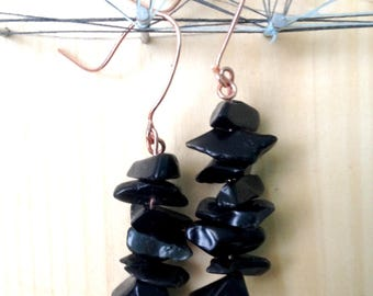 Obsidian Chip and Copper Wire Earrings