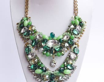 Green Shades Crystal Statement Necklace