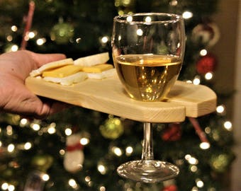 Wine and Cheese Boards, Wine Tasting Trays, Wine Accessories, Cheese Board Set With Wine Glass Holder, Wine Lover Gift, Snack Tray, Mom Gift