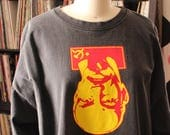 vintage Lenin t-shirt . oversized faded black long sleeve tee . unisex xl