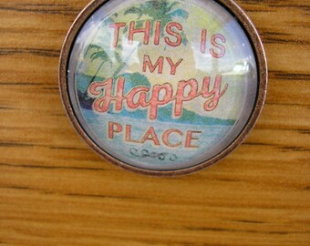 "My Happy Place pendant, glass charm in a copper frame with a 28"" copper chain"