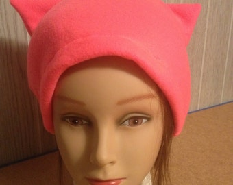 Hot Pink FLEECE PussyHat Cat beanie Women's March PUSSY HAT Kitty Ears Knit Costume 1 Size Free 1st Class Shipping & Charity Donation