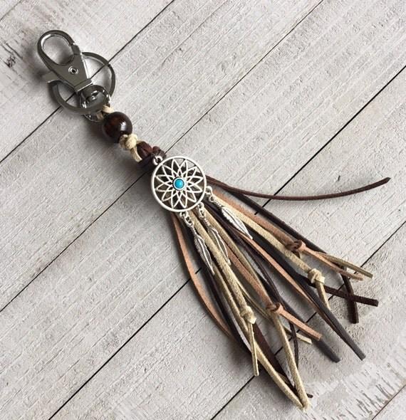 Dreamcatcher Purse Charm, Tassel Keychain, Western Cowgirl Tassel, Handbag Charm, Southwest Style, Gift for Her - KC215C