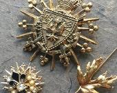 Reserved for Vlasta Filipasic - Fleur de Lis Maple Leaf Crest Gold Tone Pearls Enameled Jewels