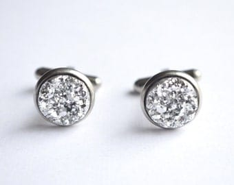 The 007 - Silver Druzy Cuff Links