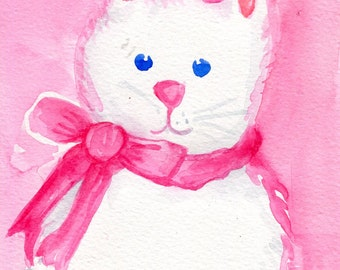 Easter Bunny Watercolor Painting Original, Small bunny wall art, white rabbit artwork  5 x 7 watercolor rabbit painting, bunny pink bow
