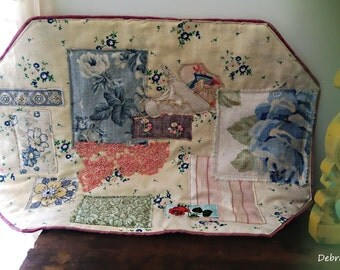 Patchwork Placemat, Textile, Chair Back, Beautiful Textiles, Vintage Tea Party, Embroidery,  Rustic, Boho, AllThingsPretty, Upcycled