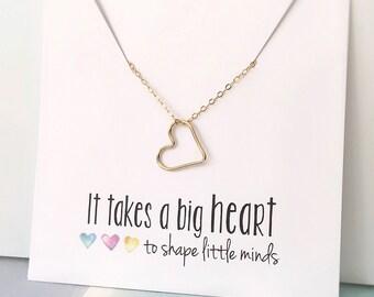 Teacher Necklace, Teacher Gift, Teacher Gift Idea, Thank you Gift for Teacher, Teacher Christmas Gift, Gold Heart Necklace, New Teacher Gift