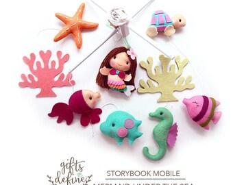 Free US Ship Mermaid and Under the Sea Fish, Musical Baby Mobile, Ocean Theme, Custom Crib Mobile, Whimsical Modern Nautical Nursery Decor