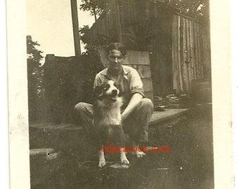 Happy vintage dog animal floppy ears overalls rural barn outdoor vernacular photo snapshot