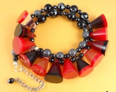 Red and Black Chunky Necklace - resin or lucite cone shape beads, funky tribal retro, matching earrings, jewelry set, statement piece