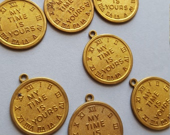 Vintage brass My Time is Yours clock charms