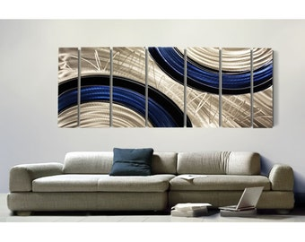 Huge Modern Metal Wall Art In Blue, Black & Silver, Contemporary Wall Sculpture, Home and Office Decor - Ebb and Flow XL by Jon Allen