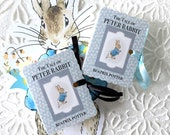 Peter Rabbit Favors | Miniature Book Box | One Year Birthday New Baby Shower | Beatrix Potter Party Favor | Pink Blue Customized Set/12
