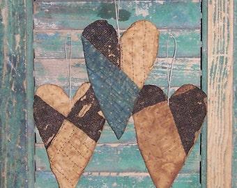 3 Primitive Heart Ornaments, Antique Quilt Tattered Hearts, Farmhouse Decor, Wabi Sabi, Indigo Blue Black White Polkadots - READY TO SHIP