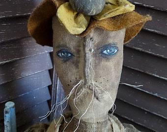 MUSTARD SEED ORIGINALS, Easter, Bunny, Rabbit, Spring, Egg, Basket, Sunflower, Old Cloth, Very Primitive, Doll by Sharon Stevens